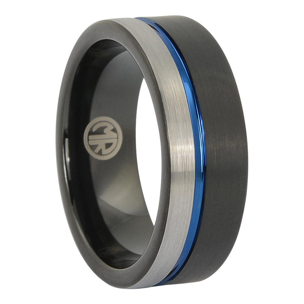 FTR-140 – Tungsten Black and Blue Mens Ring