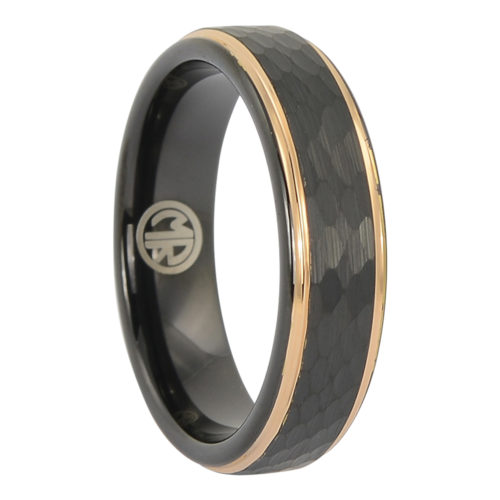 Tungsten faceted rose gold mens ring