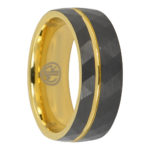 Tungsten faceted gold mens ring