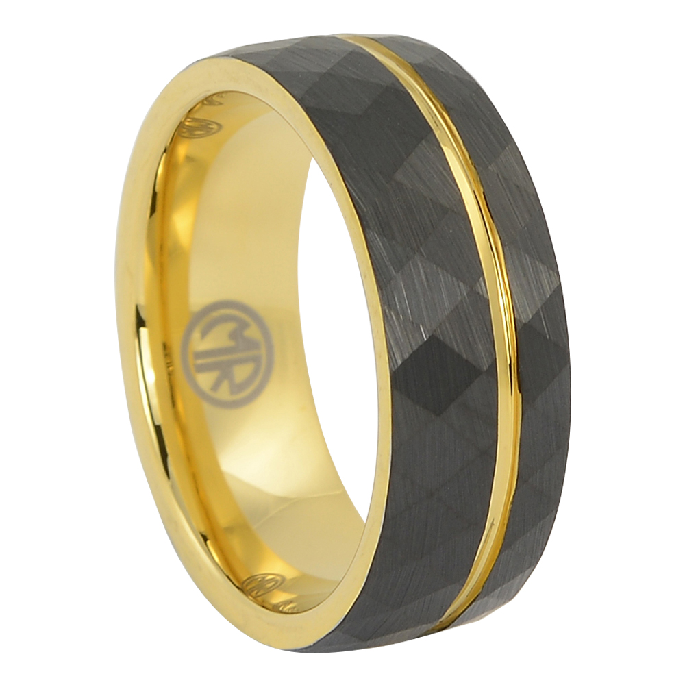 FTR-142 – Tungsten faceted gold mens ring