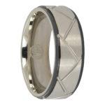 Titanium cross hatch mens ring
