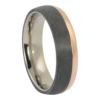 Titanium and rose gold mens ring