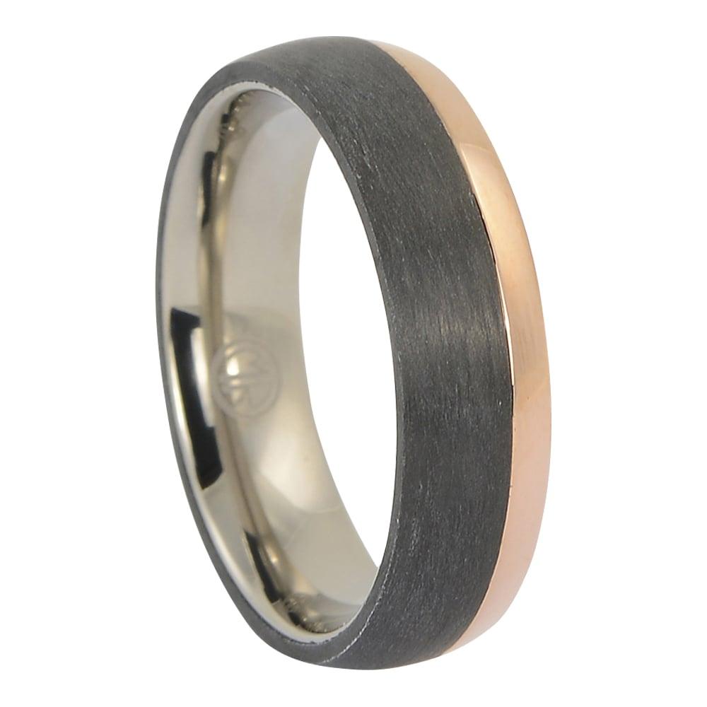 ITR-171 – Titanium and rose gold mens ring