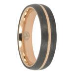 Carbon Fibre and gold titanium mens ring
