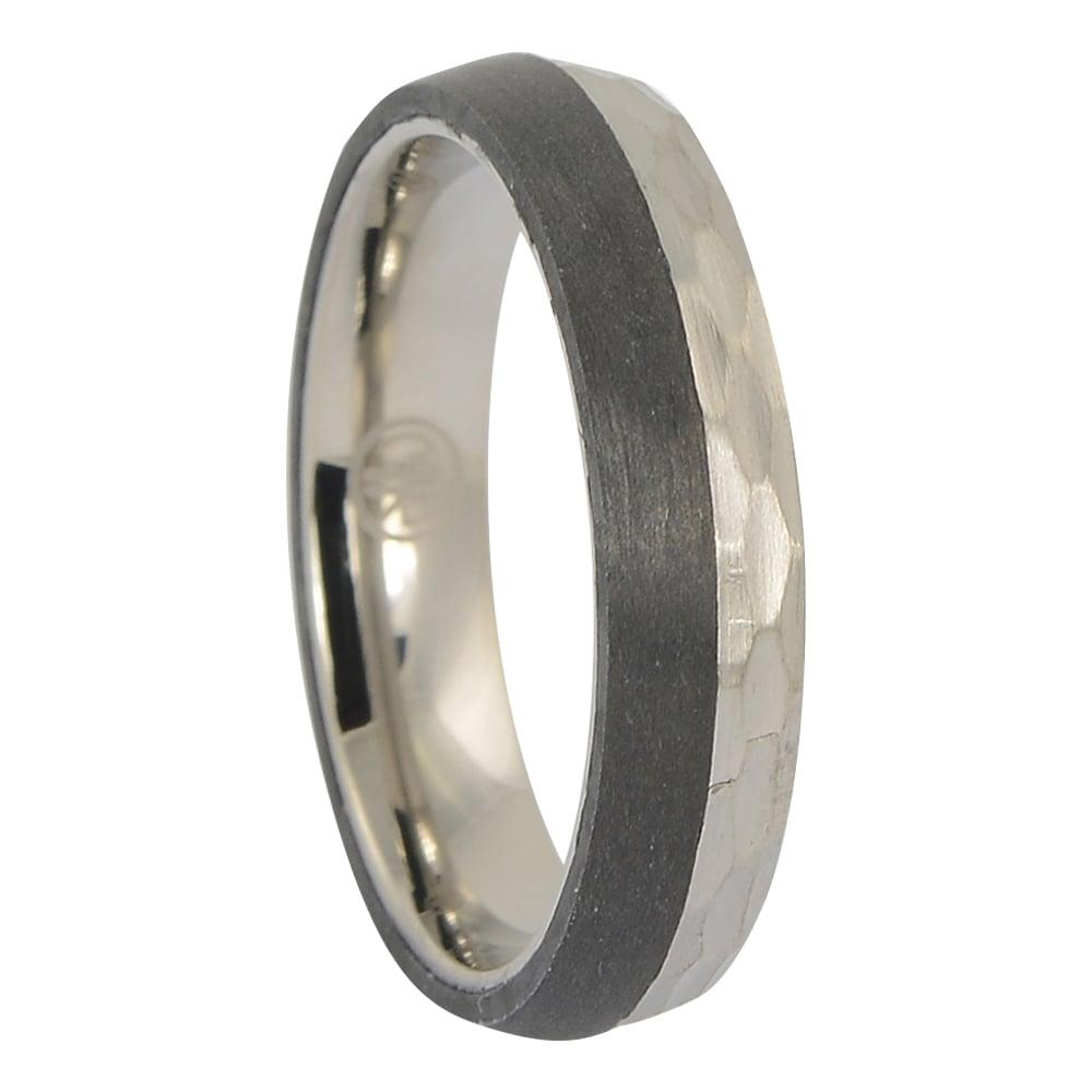 ITR-173 Carbon Fibre and faceted titanium mens ring