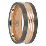 Carbon fibre titanium gold mens ring