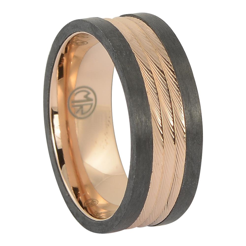 ITR-175 – Carbon fibre titanium gold mens ring