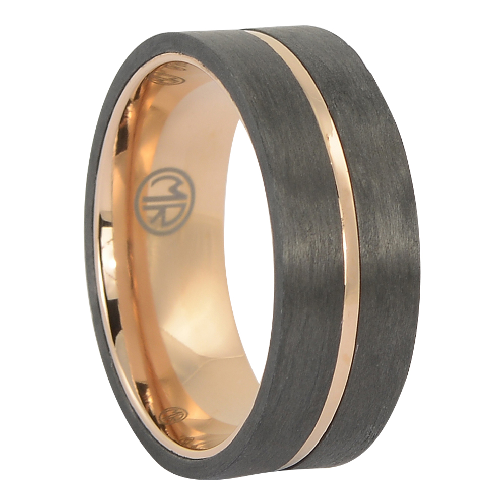 ITR-176 – Carbon fibre titanium gold mens ring