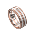 Rose and White Gold Polished Mens Wedding Ring