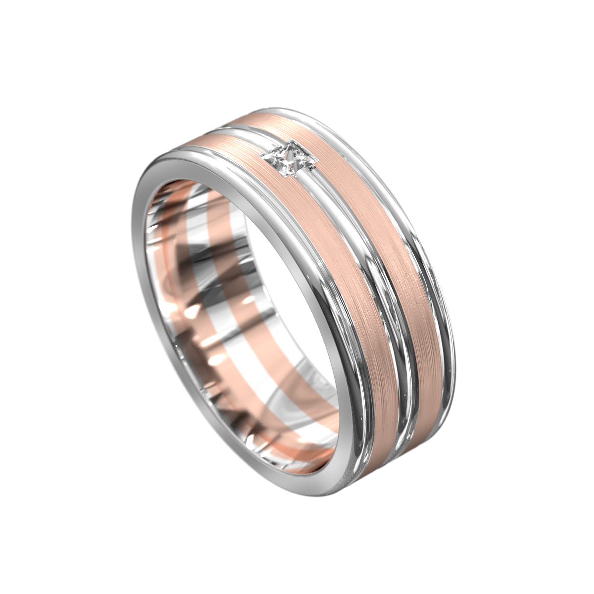 Polished White and Rose Gold Mens Wedding Ring