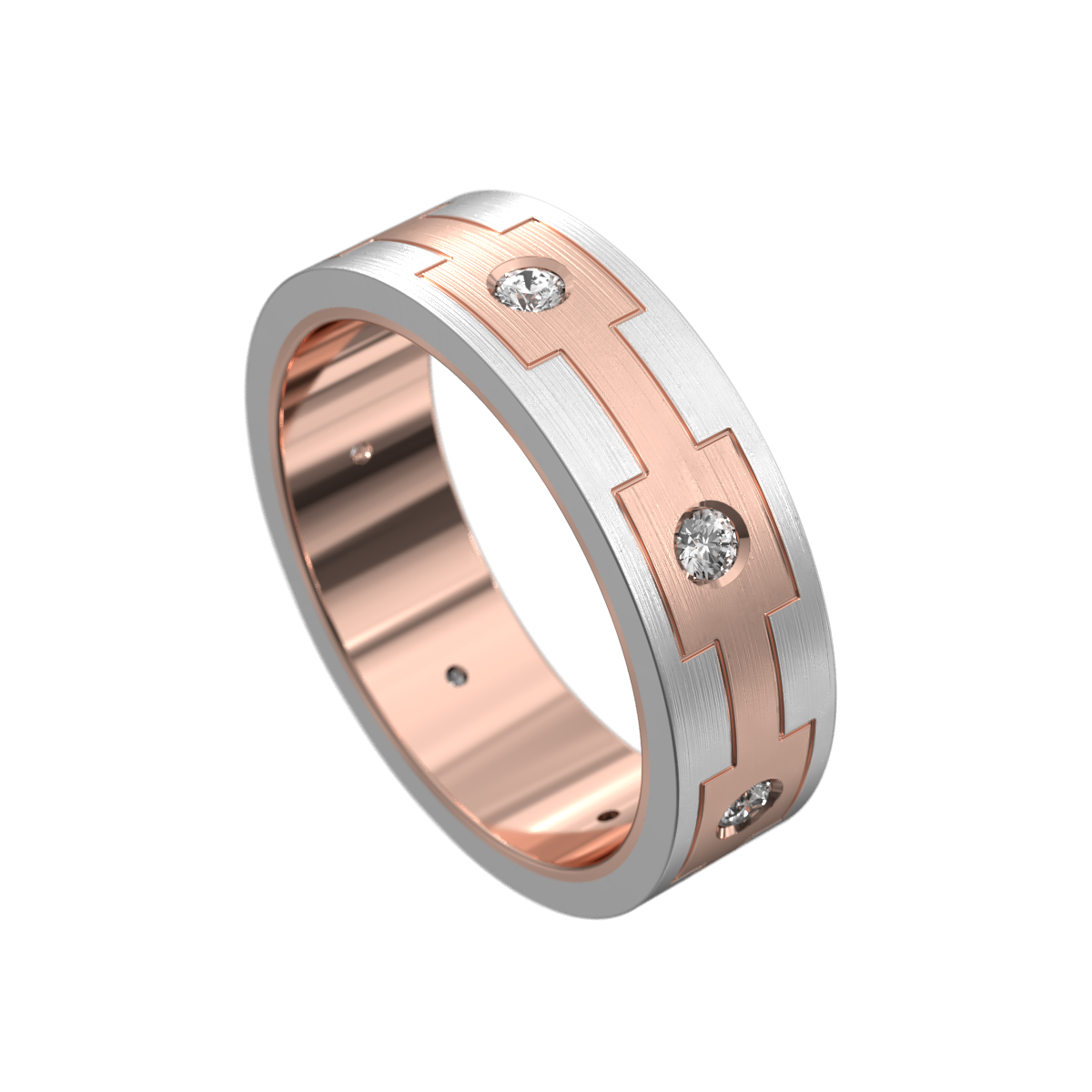 Brushed Rose and White Gold Mens Wedding Ring