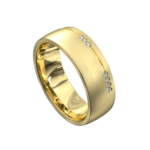 Sensational Yellow Gold Brushed and Polished Mens Wedding Ring
