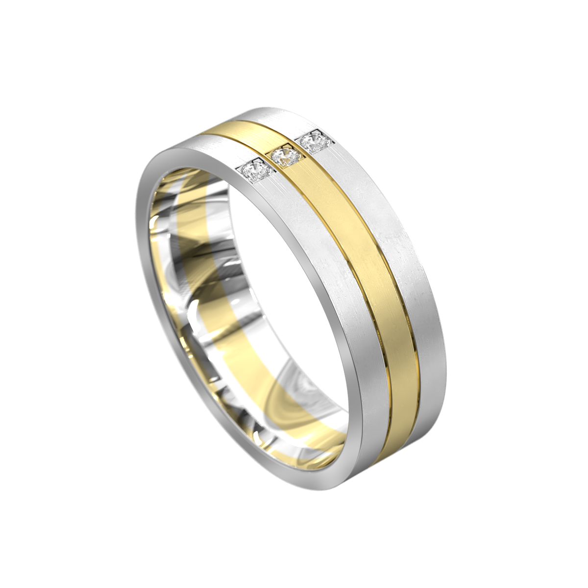 WWAD7028-WY – Brushed White and Yellow Gold Mens Wedding Ring