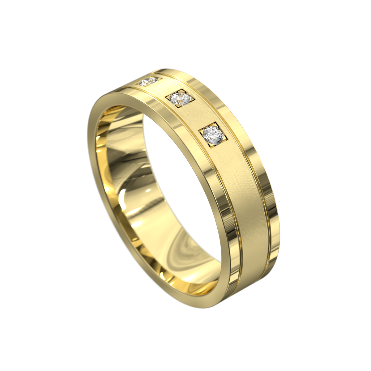 Sensational Yellow Gold Polished and Brushed Mens Wedding Ring