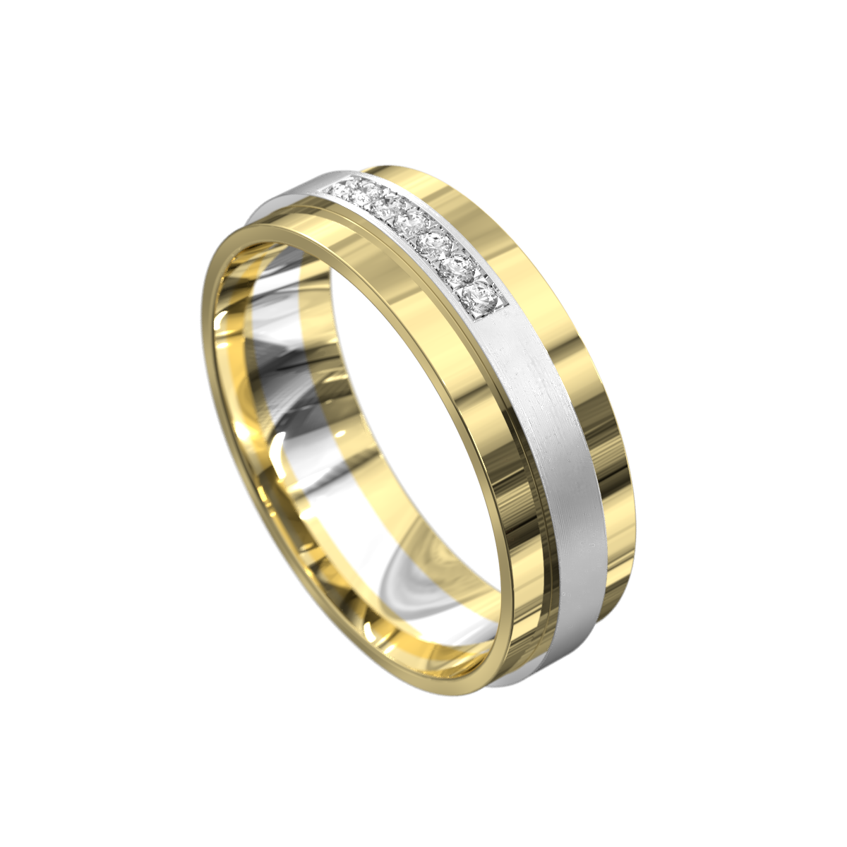 Polished Yellow and White Gold Mens Wedding Ring