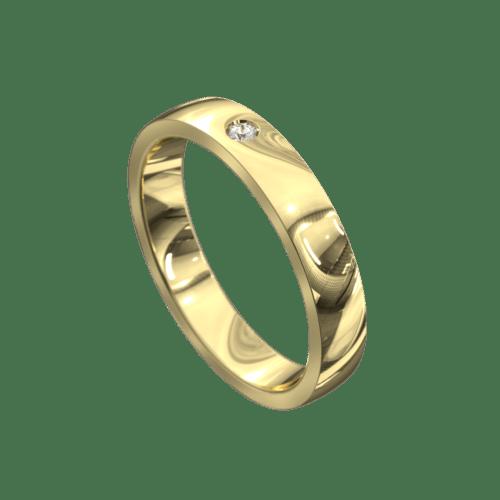 Remarkable Yellow Gold Satin Mens Wedding Ring
