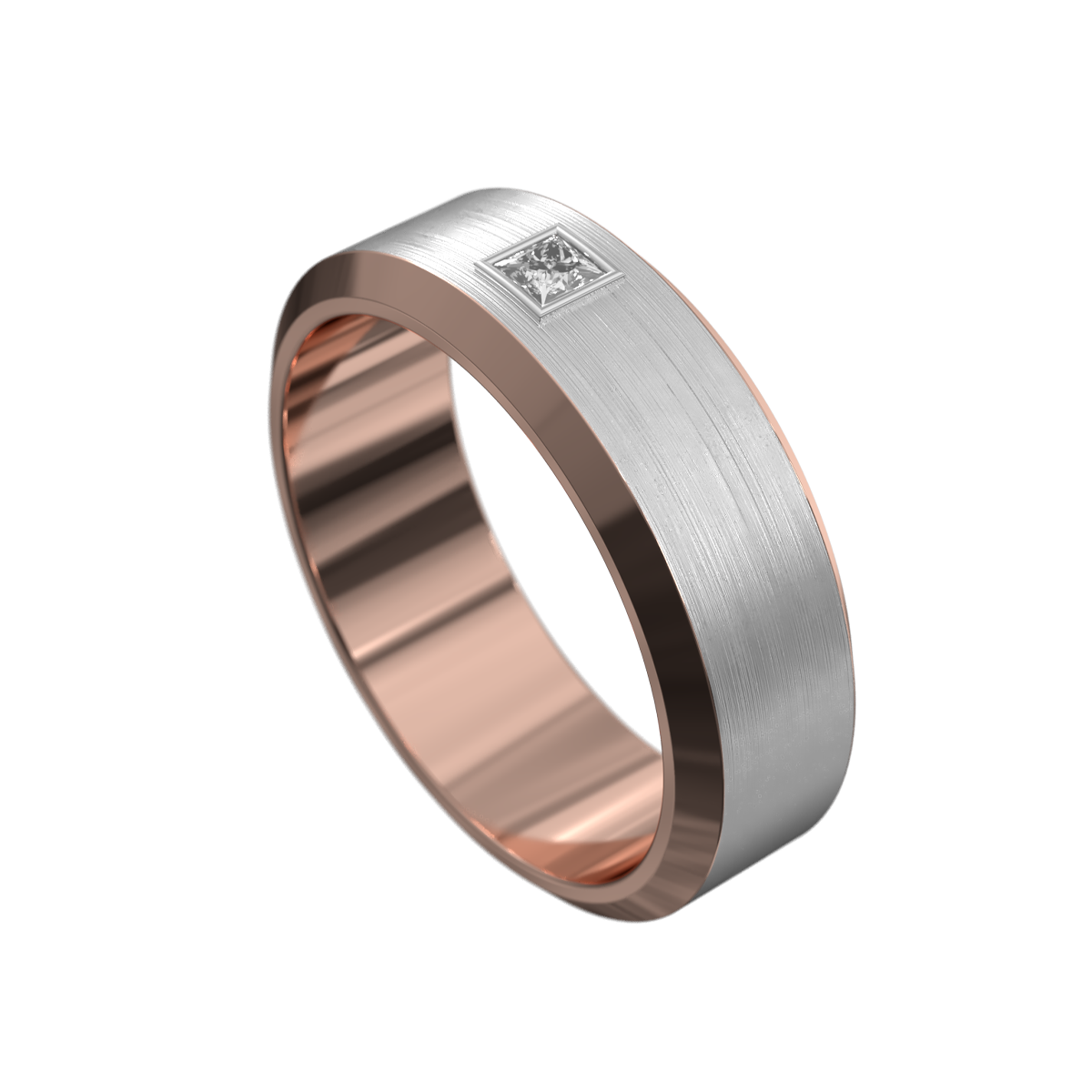 WWAD8016-RW – Brushed Rose and White Gold Mens Ring
