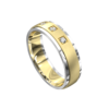 White and Yellow Gold Brushed Mens Wedding Ring