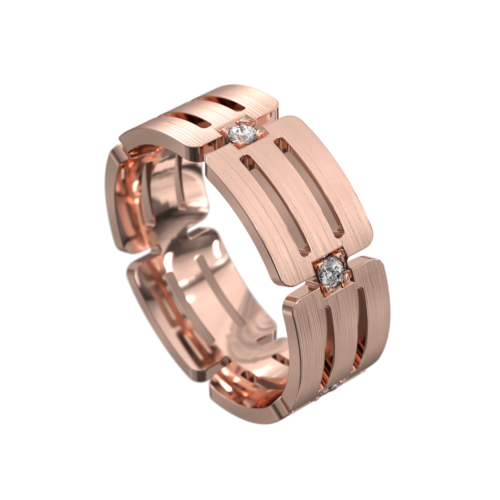 Remarkable Centre Groove Rose Gold Mens Ring