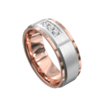 Rose and White Gold Brushed Mens Ring