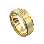 Sensational Yellow Gold Brushed and Polished Mens Ring