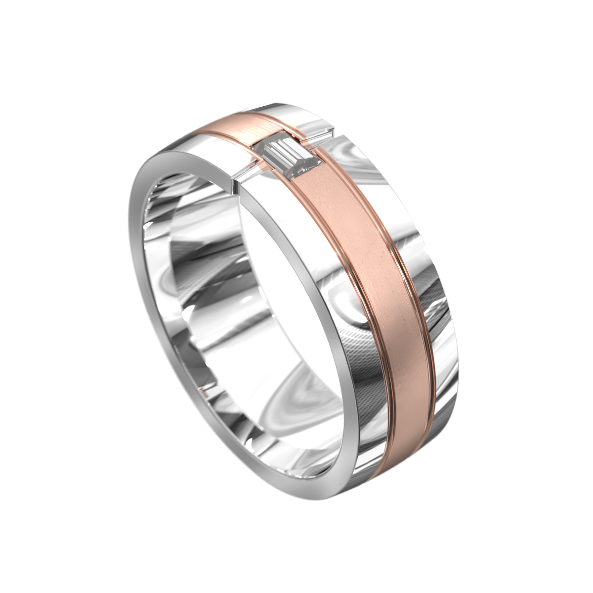 Polished White and Rose Gold Mens Ring
