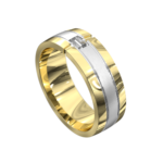 Polished Yellow and White Gold Mens Ring