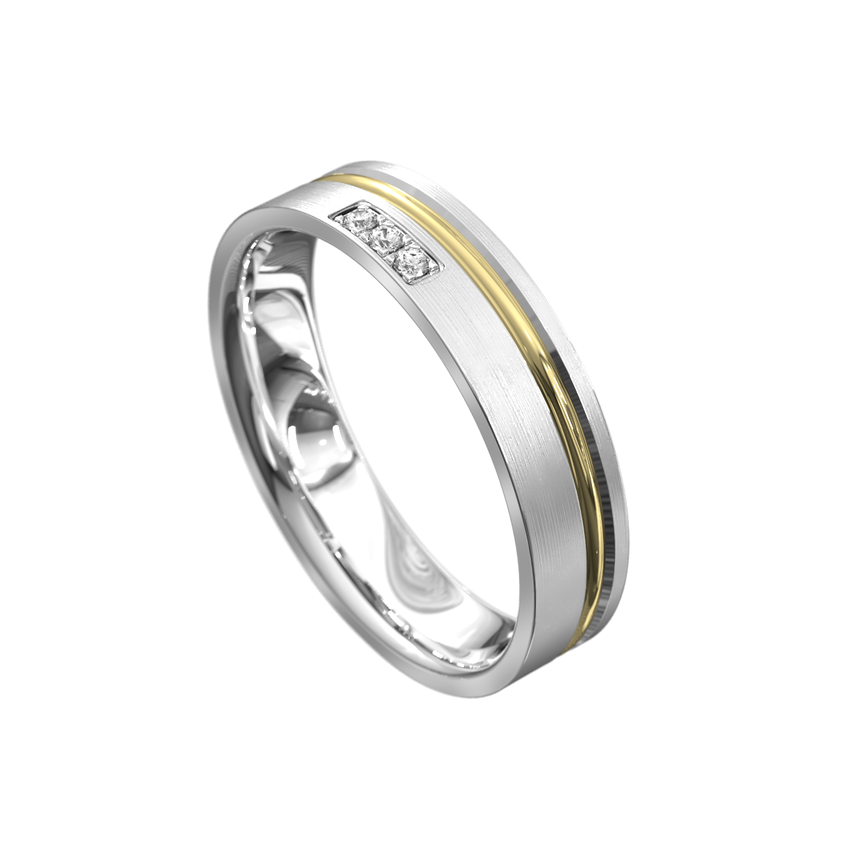 Brushed White and Yellow Gold Mens Ring