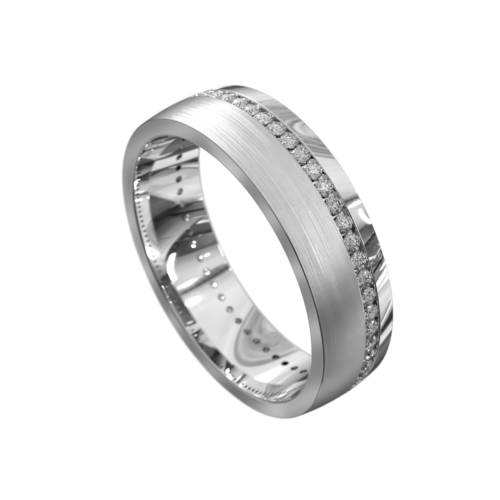 White Gold Brushed and Polished Mens Ring