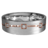 White and Rose Gold Centre Groove Mens Ring