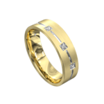 Yellow and White Gold Centre Groove Mens Ring