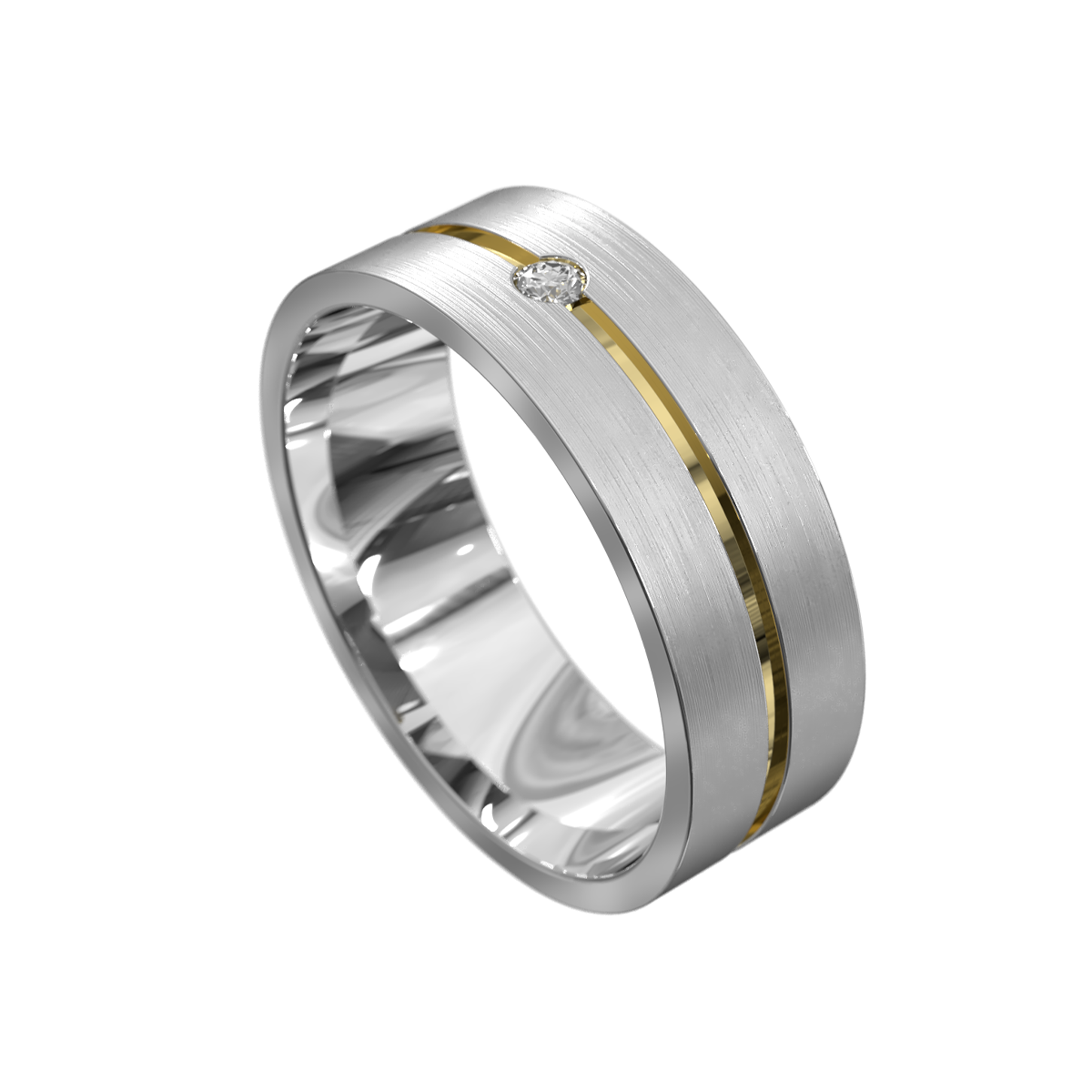 Centre Groove White and Yellow Gold Mens Ring