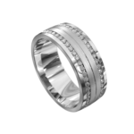 Brilliant White Gold Brushed and Polished Mens Ring