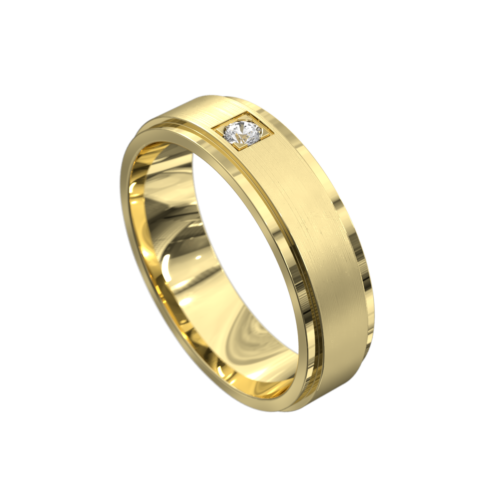 Impressive Yellow Gold Brushed and Polished Mens Ring