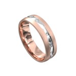 Centre Groove Rose and White Gold Mens Ring