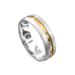 White and Yellow Centre Groove Mens Ring