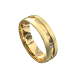 Brilliant Centre Groove Yellow Gold Mens Ring