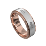 Brushed Rose and White Gold Mens Ring