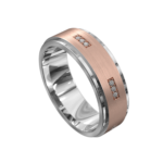 White and Rose Gold Brushed Mens Ring