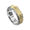 White and Yellow Gold Brushed Mens Ring