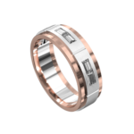 Rose and White Gold Polished Mens Ring