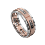 White and Rose Gold Polished Mens Ring