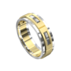White and Yellow Gold Polished Mens Ring
