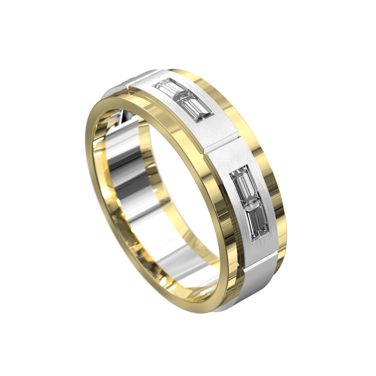 Yellow and White Gold Polished Mens Ring