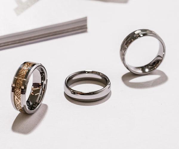Tungsten mens rings